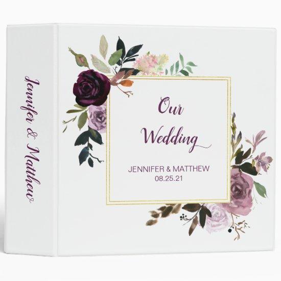 Purple Lavender Pink Gold Floral Wedding Album 3 Ring Binder