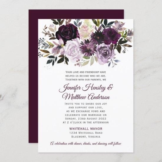 Purple Lavender Pink White Peonies Roses Wedding Invitation