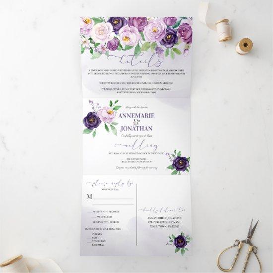 Purple Lavender Roses *DIY* Color Change Script Tri-Fold Invitation