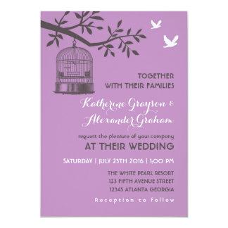 Purple Lavender Rustic Bird Cage Invitation