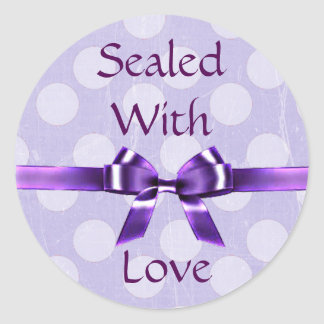 """Purple & Lavender """"Sealed with Love"""" Stickers"""