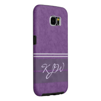 Purple Lavender Stripes Monogram Samsung Galaxy S6 Case