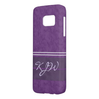 Purple Lavender Stripes Monogram Samsung Galaxy S7 Case