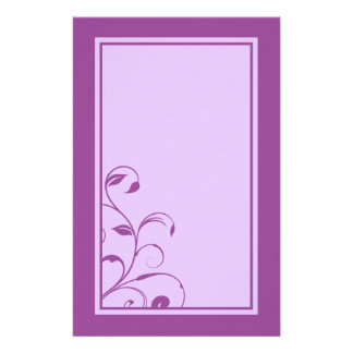 Purple & Lavender Swirls and Curls Stationary Stationery Design