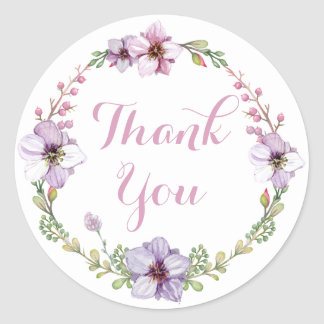 Purple Lavender Thank You Watercolor Floral Wreath Classic Round Sticker