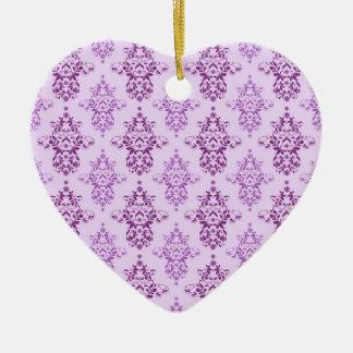 Purple Lavender Two Toned Damask Ceramic Ornament