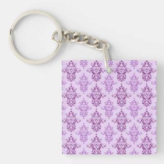 Purple Lavender Two Toned Damask Single-Sided Square Acrylic Keychain