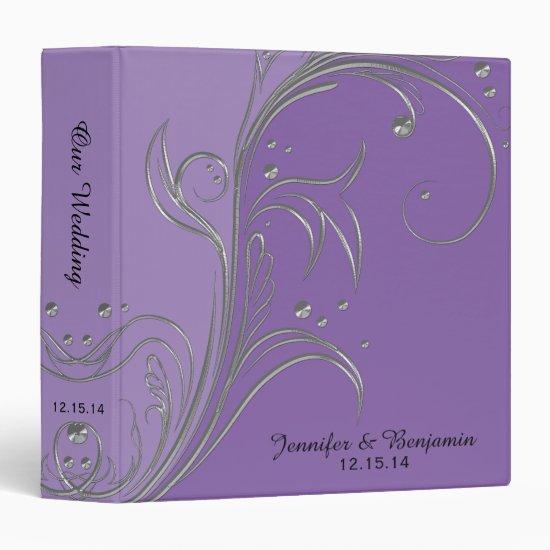 Purple Lavender Violet Silver Floral Scrolls Album 3 Ring Binder