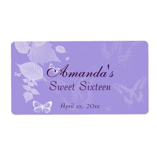 Purple Lavender Water Bottle Sweet SixteenWedding Labels