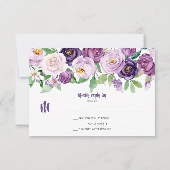 Purple Lavender Watercolor Floral RSVP