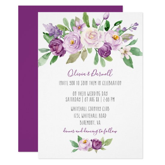 Purple Lavender Watercolor Floral Wedding Invitation