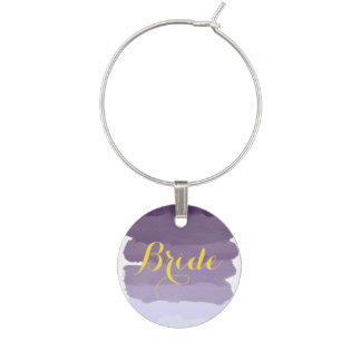 Purple lavender watercolor ombre stripes bride wine charm