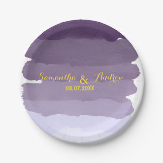Purple lavender watercolor ombre stripes wedding paper plate