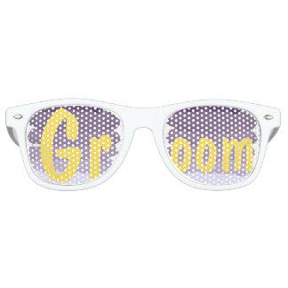 Purple lavender watercolor ombre wedding Groom Retro Sunglasses