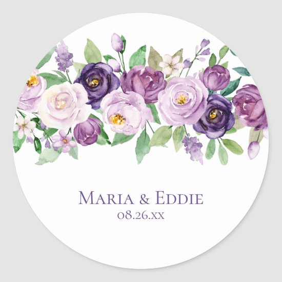 Purple & Lavender Watercolor Roses Wedding Classic Round Sticker