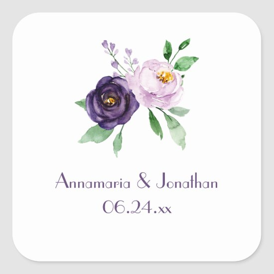 Purple & Lavender Watercolor Roses Wedding Date Square Sticker