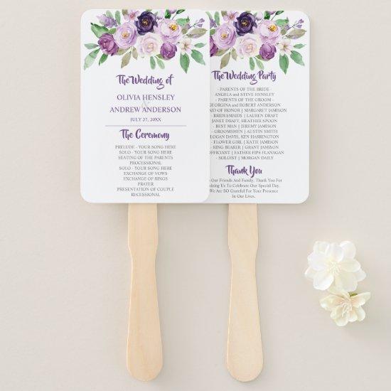Purple & Lavender Watercolor Roses Wedding Hand Fan