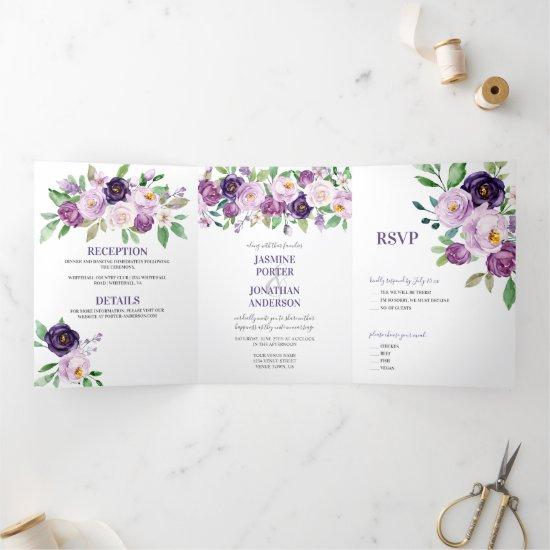 Purple & Lavender Watercolor Roses Wedding   Tri-Fold Invitation