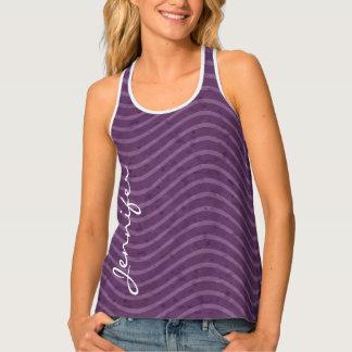 Purple Lavender Wavy Lines Monogram Tank Top