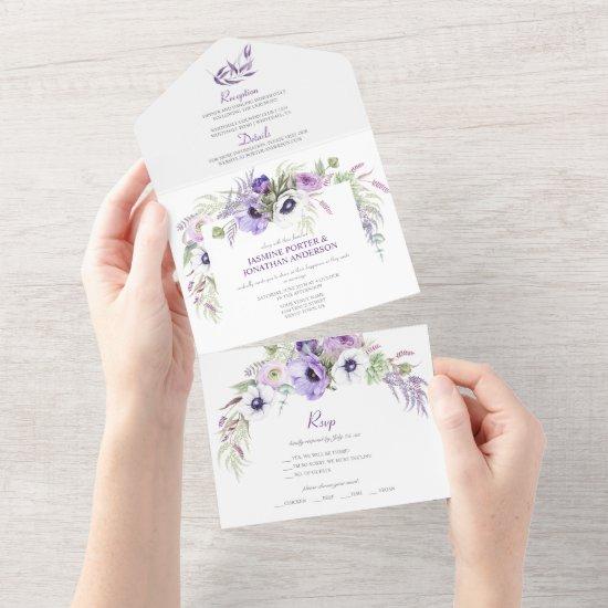 Purple Lavender & White Anemones Floral    All In One Invitation