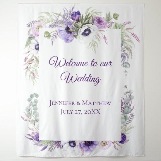 Purple Lavender & White Anemones Floral    Tapestr Tapestry