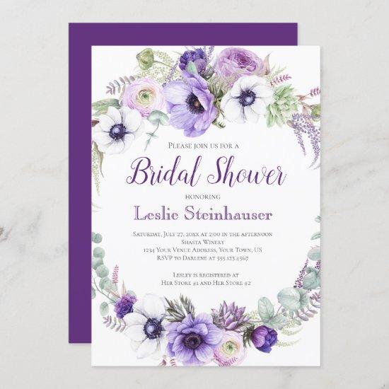 Purple Lavender White Floral Bridal Shower   Invitation
