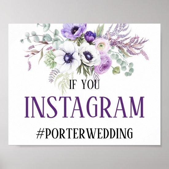 Purple Lavender White Floral Instagram Sign