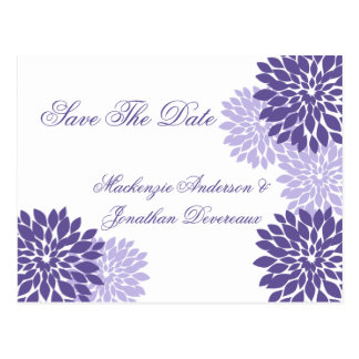 Purple Lavender White Floral Save The Date Postcard