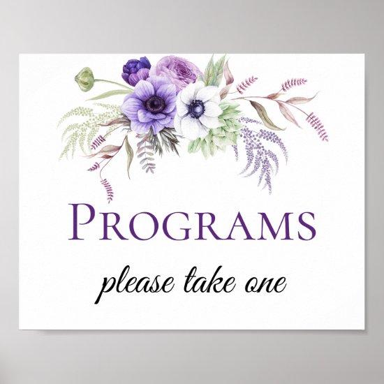 Purple Lavender White Floral Wedding Program Signs