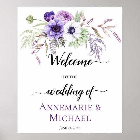Purple Lavender White Floral Wedding Sign