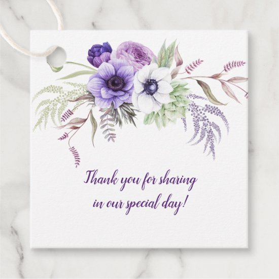 Purple Lavender White Floral Wedding Square | Favor Tags