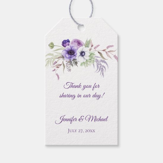 Purple Lavender White Floral Wedding Thank You | Gift Tags