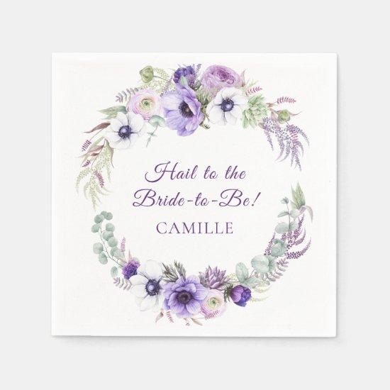 Purple Lavender White Floral Wreath Bridal Shower Napkins