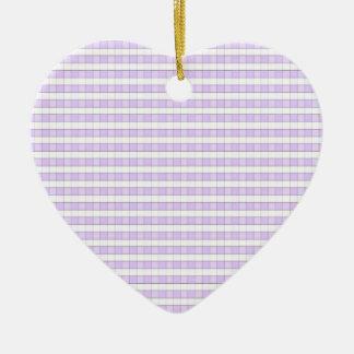 Purple Lavender & White Gingham Check Background Ceramic Ornament
