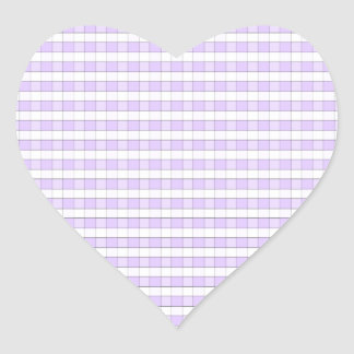 Purple Lavender & White Gingham Check Background Heart Sticker