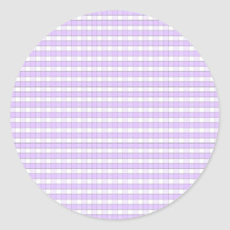 Purple Lavender White Gingham Check Pattern Backgr Classic Round Sticker