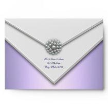 Purple Lavender White Pearl Purple Envelopes