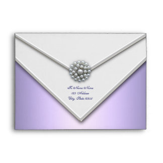 Purple Lavender White Pearl Purple Envelopes