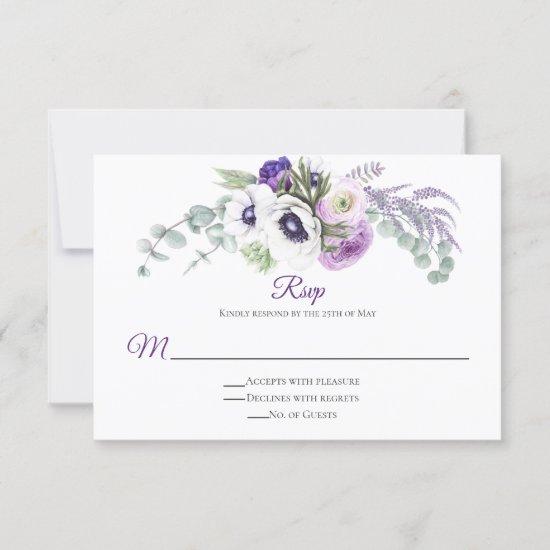 Purple Lavender White RSVP