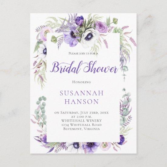 Purple Lavender White Watercolor Bridal Shower Postcard