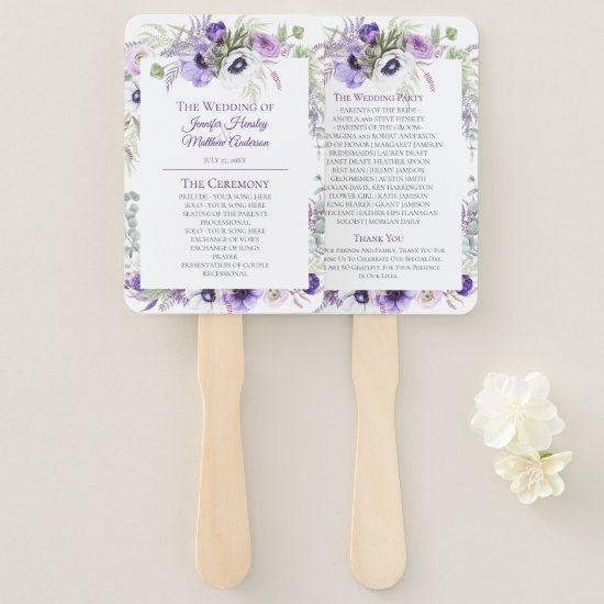 Purple, Lavender, White Watercolor Floral Wedding  Hand Fan
