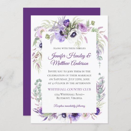 Purple Lavender White Watercolor Floral Wedding | Invitation