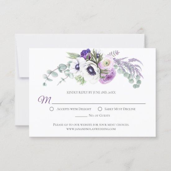 Purple Lavender White Watercolor Flowers | RSVP Card