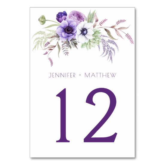 Purple Lavender White Watercolor Flowers | Table Number