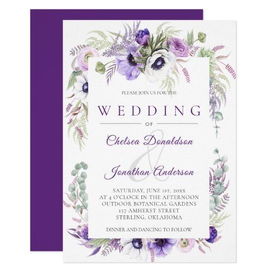 Purple Lavender White Watercolor Flowers Wedding Invitation