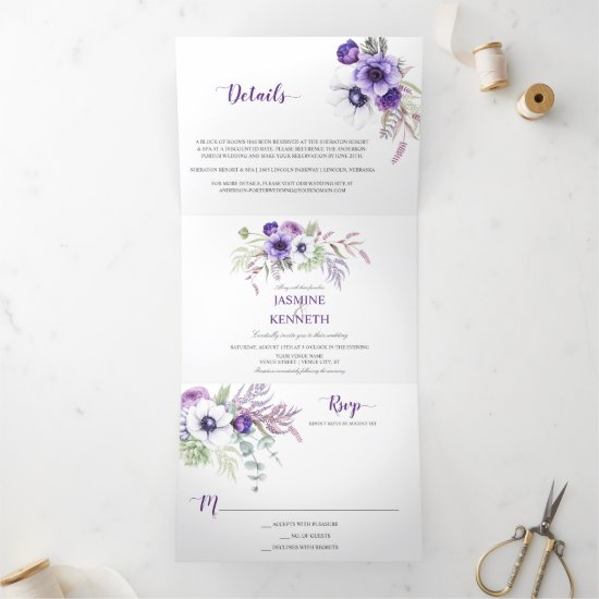 Purple Lavender White Watercolor Flowers Wedding Tri-Fold Invitation