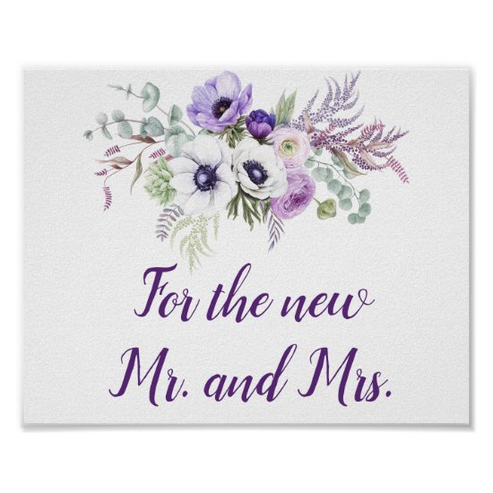 Purple Lavender White Wedding Cards & Gifts Sign