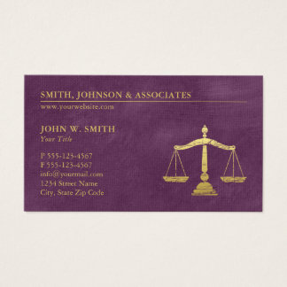 Purple Lawyer Scales of Justice Appointment Business Card