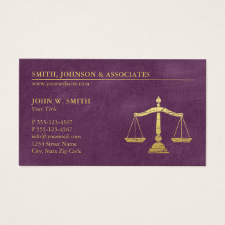 Purple Lawyer Scales of Justice Gold effect Canvas Business Card