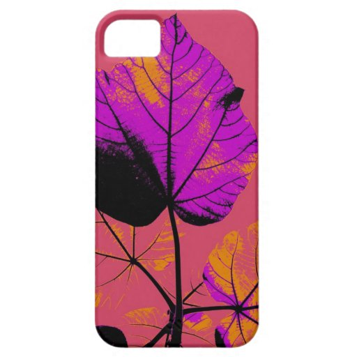 Purple Leaf Abstract Art Design iPhone 5 Covers